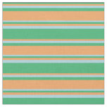 [ Thumbnail: Sea Green, Brown, and Light Blue Pattern Fabric ]