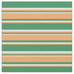 [ Thumbnail: Sea Green, Brown & Beige Stripes/Lines Pattern Fabric ]