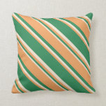 [ Thumbnail: Sea Green, Brown & Beige Stripes/Lines Pattern Throw Pillow ]