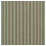 [ Thumbnail: Sea Green & Brown Lines/Stripes Pattern Fabric ]