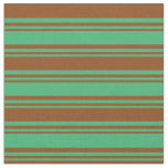 [ Thumbnail: Sea Green & Brown Stripes Fabric ]