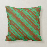 [ Thumbnail: Sea Green & Brown Stripes Throw Pillow ]