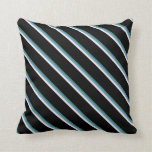 [ Thumbnail: Sea Green, Cornflower Blue, Beige, and Black Throw Pillow ]