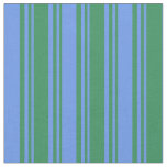 [ Thumbnail: Sea Green & Cornflower Blue Colored Pattern Fabric ]