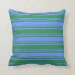 [ Thumbnail: Sea Green & Cornflower Blue Colored Pattern Pillow ]