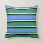 [ Thumbnail: Sea Green, Cornflower Blue, Light Cyan, and Black Throw Pillow ]