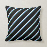 [ Thumbnail: Sea Green, Cornflower Blue, White, and Black Throw Pillow ]