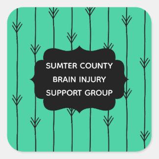 Sea Green Custom Brain Injury Support Group Square Sticker