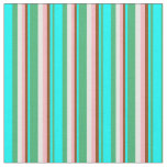 [ Thumbnail: Sea Green, Cyan, Brown, Light Pink & Mint Cream Fabric ]