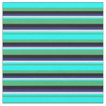 [ Thumbnail: Sea Green, Cyan, Lavender, Midnight Blue & Black Fabric ]