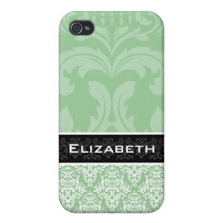 Sea Green Damask iPhone 4 Case With Your Name