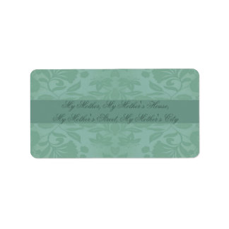 Sea Green Damask Mother's Day Address Label
