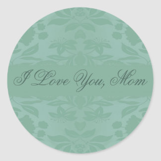 Sea Green Damask Mother's Day Classic Round Sticker