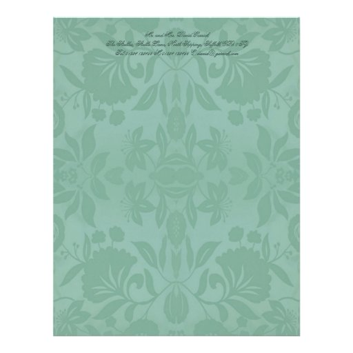 Sea Green Damask Mother's Day Letterhead Template