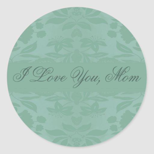 Sea Green Damask Mother's Day Stickers