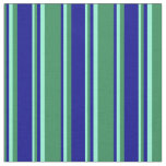 [ Thumbnail: Sea Green, Dark Blue & Aquamarine Stripes Pattern Fabric ]