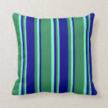 [ Thumbnail: Sea Green, Dark Blue & Aquamarine Stripes Pattern Throw Pillow ]