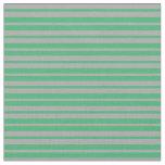 [ Thumbnail: Sea Green & Dark Gray Lined/Striped Pattern Fabric ]