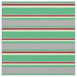 [ Thumbnail: Sea Green, Dark Grey, Maroon, and Pale Goldenrod Fabric ]