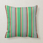 [ Thumbnail: Sea Green, Dark Grey, Maroon, and Pale Goldenrod Throw Pillow ]