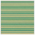 [ Thumbnail: Sea Green & Dark Khaki Lined Pattern Fabric ]