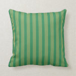 [ Thumbnail: Sea Green & Dark Khaki Striped/Lined Pattern Throw Pillow ]
