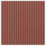 [ Thumbnail: Sea Green & Dark Red Colored Striped Pattern Fabric ]