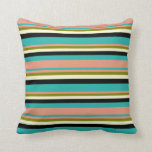 [ Thumbnail: Sea Green, Dark Salmon, Green, Light Yellow, Black Throw Pillow ]
