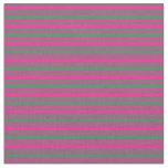 [ Thumbnail: Sea Green & Deep Pink Stripes/Lines Pattern Fabric ]