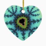 Sea Green Fractal Ceramic Ornament