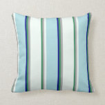 [ Thumbnail: Sea Green, Gray, Mint Cream, Powder Blue & Blue Throw Pillow ]