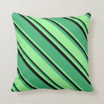 [ Thumbnail: Sea Green, Green, and Black Colored Pattern Pillow ]
