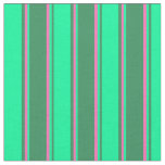 [ Thumbnail: Sea Green, Green & Hot Pink Colored Pattern Fabric ]