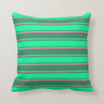 [ Thumbnail: Sea Green, Green & Hot Pink Colored Pattern Pillow ]