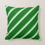 [ Thumbnail: Sea Green, Green, Mint Cream, and Dark Green Throw Pillow ]
