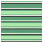 [ Thumbnail: Sea Green, Green, White, and Black Colored Lines Fabric ]