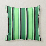 [ Thumbnail: Sea Green, Green, White, and Black Colored Lines Throw Pillow ]