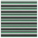 [ Thumbnail: Sea Green, Grey & Black Lined Pattern Fabric ]