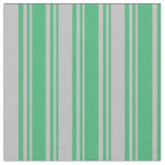 [ Thumbnail: Sea Green & Grey Striped/Lined Pattern Fabric ]