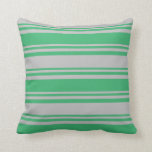 [ Thumbnail: Sea Green & Grey Striped/Lined Pattern Pillow ]
