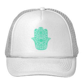 Sea Green Hamsa-Hand of Miriam-Hand of Fatima png Hats