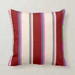 [ Thumbnail: Sea Green, Hot Pink, Beige, Dark Red & Dark Orchid Throw Pillow ]