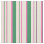 [ Thumbnail: Sea Green, Hot Pink & Bisque Lines Pattern Fabric ]