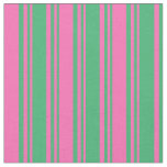 [ Thumbnail: Sea Green & Hot Pink Stripes/Lines Pattern Fabric ]