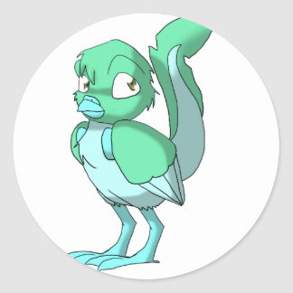 Sea Green/Ice Blue Reptilian Bird Classic Round Sticker