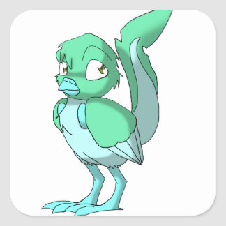 Sea Green/Ice Blue Reptilian Bird Square Sticker