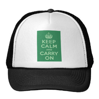Sea Green Keep Calm and Carry On Hat