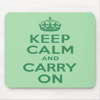 Sea Green Keep Calm and Carry On Mouse Pad