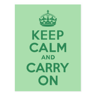 Sea Green Keep Calm and Carry On Postcards