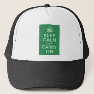 Sea Green Keep Calm and Carry On Trucker Hat